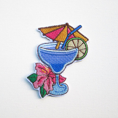 Tropical Cocktail Drink Embroidered and Iron Patch.