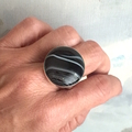 Large Size U 1/2, Genuine Black Banded Agate Gemstone, 925 Sterling Silver Ring.