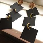 Black leather tile drop earrings