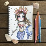 "Original Drawing ""Mermaid Thoughts"" by Jaz Higgins."