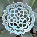 Hand carved high fired ceramic mandala dish in aqua blue 13cm wide 1cm deep.