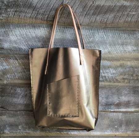 Gold Leather Tote, large bag