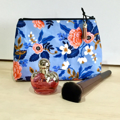 Makeup bag, blue, cotton and steel Les Fleurs Periwinkle travel bag, travel gift