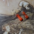 Vintage Japanese Glass Beads Drop Earrings