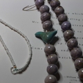 Long Beaded Necklace ~ Ceramic & Sterling Silver