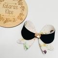 Black Floral Lily Hair Bow , Birthday Bow Headband