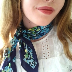 Silk Scarf in  navy and green