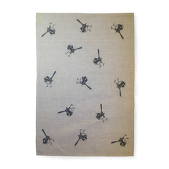 Fairy wren screen printed linen tea towel