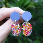 Dangle earrings, drop earrings, sprinkle earrings, colourful earrings, statement