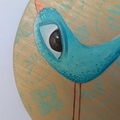 Aria , 20cm wood panel painting, teal, stamp, bird , mixed media