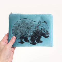 Screen printed wombat pouch