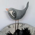 The Guardian, original painting,bird black white and grey round wood
