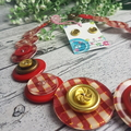 Golden Check - Red - Button Necklace - Button Earrings - Jewellery