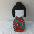 Green & Red Japanese Doll Brooch