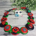 Poppies and Ladybugs - Black Red Green - Button Necklace