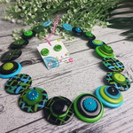 Turquoise Black and Green - Paint Hatch - Button Necklace