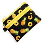 Coin Purse with Two Zips in Pineapple Fabric