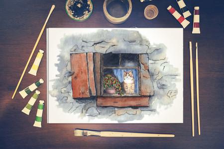 Ink & Watercolour Ginger Cat A4 Art Print Wall Art Nursery Decor