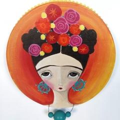 Frida painting , original, yellow pink teal pompoms wood