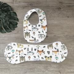 Bib & Burp Cloth Gift Set - Wild Woodland Animals - Boy - Girl - Unisex