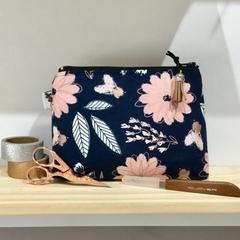 Makeup bag, Cosmetic bag, Mums gift, Make up bag, navy peach and rose gold