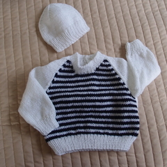 SIZE 0-6mths - Hand knitted jumper & beanie: washable, warm, boy