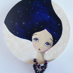 Grace, Stars in her hair original painting , Teal with bead necklace