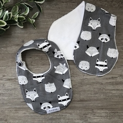 Bib & Burp Cloth Gift Set - Woodland Animals Grey - Girl - Boy - Unisex