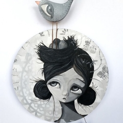 The Guardian, original painting,bird black white and grey round wood
