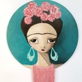 Frida Kahlo painting. Teal and pink, unique art on wood panel