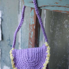Purple with yellow trim Crochet Bag for Child or your Bestie ~ Christmas Gift