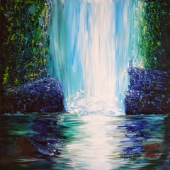 """Abstract realism """"The Waterfall"""" 48x48"""" artwork"""