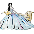 Dreamy Blue Instant Download Printable Fashion Illustration Wall Art | A4 & A5