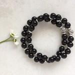 Black Onyx Gemstone & Tibetan Bead Bracelet Set
