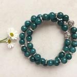 Teal Malaysian Jade Gemstone & Tibetan Bead Bracelet Set