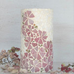 Mosaic Vase  with Pink Flowing Flowers