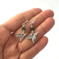 3 Choices of Unique Hummingbird and Swans Earrings, Silver-Plated Hooks.