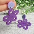 Purple Flower Button Dangle Earrings - Acrylic - Glitter