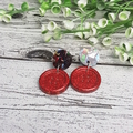 Red Sparkle - Button Stud - Dangle earrings