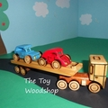 Handcrafted Wooden Toy - Mini Mac Truck - Car Carrier