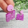 Teeny Tiny Buttons in Resin - Purple Mauve - Square Stud Dangle earrings