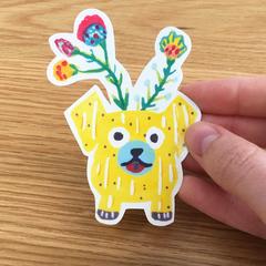 Dog potplant sticker
