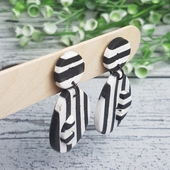 Black and White - Oval Stripes - Handcrafted polymer clay dangle earrings