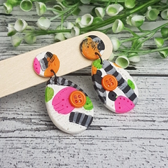 Button Citrus Stripe - Oval - Handcrafted polymer clay dangle earrings