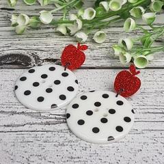 Teacher Spots - Glittering Apples - Button Dangle Earrings - Acrylic