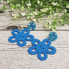 Blue Flower Button Dangle Earrings - Acrylic - Glitter