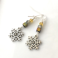 3 Choices of Snowflakes Earrings with Sparkling Gemstones, Silver-Plated Hooks.