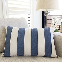 Coastal Stripes Cushion Cover In Denim Blue. 35cmx60cm
