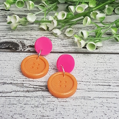 Neon Pink and Sparkle Peach Bloom - Button Stud - Dangle earrings