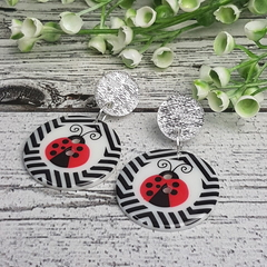 Lady Bug Beetle Button Dangle Earrings - Acrylic